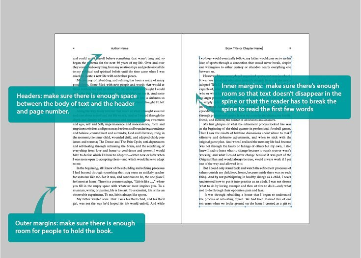 page margins for a book